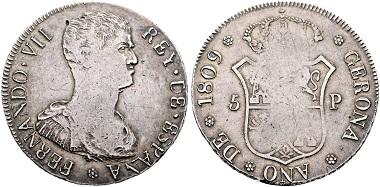 Fernando VII. 8 reales, 1809, Gerona. Realised: 32,400 euro.