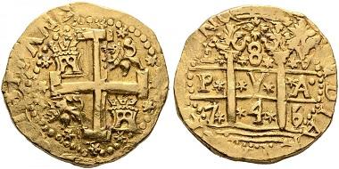 8 escudos, 1745, Lima. Realised: 11,400 euro.