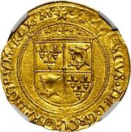 Lot 20385: France. Francois I, 1515-47. Ecu d'Or du Dauphine, ND (1542-47), Romans Mint. NGC MS-62. Estimate: US$32,000-38,000.