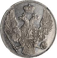 Lot 21497: Russia. 12 Ruble, 1833-SPG. St. Petersburg Mint. NGC AU-55. Estimate: US$20,000-30,000.