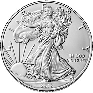 This is a genuine 2018 American Silver Eagle bullion coin.