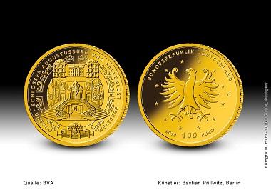 Die 100-Euro-Goldmünze Schlösser Augustusburg und Falkenlust. Quelle: BVA.