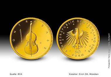 Die 50-Euro-Goldmünze Kontrabass. Quelle: BVA.