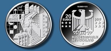 """Die neue 20-Euro-Gedenkmünze """"100 Jahre Bauhaus"""". Quelle: Bundesverwaltungsamt."""