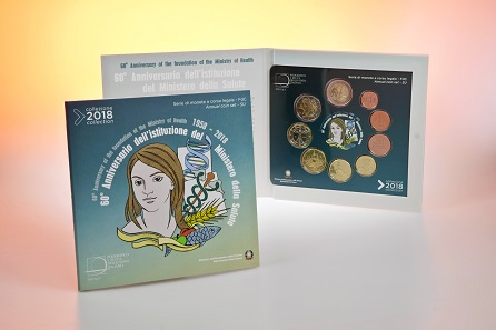 The set comprises all euro denominations and Italy's new 2 euro commemorative coin on the establishment of the Ministry of Health in 1958.