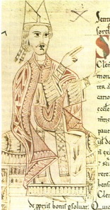 Pope Gregory VII in a manuscript from the 11th century.
