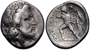 Lot 97: Thessaly. Ainianes. Hemidrachm, ca. 350s-340s BC. From the BCD Collection. Near VF. Estimate: $75.