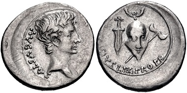 Lot 451: Augustus, 27 BC-AD 14. Denarius, 25-23 BC, Emerita mint. From the Collection of a Texas Wine Doctor. VF. Estimate: $500.