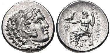 Lot 49: Kings of Macedon. Alexander III the Great, 336-323 BC. Drachm, Sardes mint, struck under Menander, circa 330/25-324/3 BC. EF. Estimate: $200.