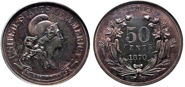 """Lot 625: USA. Proof Pattern CU Half Dollar. """"Standard"""" series. Dies by William Barber. Dated 1870. Ex Denali Collection. In PCGS encapsulation, 06645480, graded PR 64 RB. Very rare. Estimate: $2,500."""