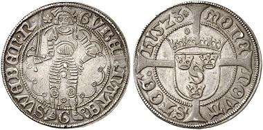 Gustav Wasa holding the title of regent. 1/2 gyllen 1523, Stockholm. From Künker auction 285 (2017), no. 115.