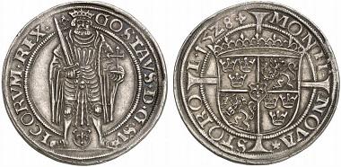 Gustav Wasa celebrating his coronation on January 12, 1528 at Uppsala Cathedral. Gyllen 1528. Stockholm. From Künker auction 196 (2011), no. 5001.