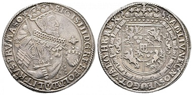 Sigismund III as King of Poland. Reichstaler 1630, Bromberg. From Künker auction eLive 50 (2018), no. 292.