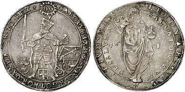 Charles IX. Riksdaler 1610, Stockholm. The reverse depicting Christ as the Savior is typical of the Protestant reservoir of images. From Künker auction 293 (2017), no. 2159.