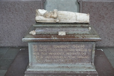 The tomb of the little Isabella, daughter of John III and his wife Catherine. Picture: KW.