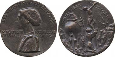 Domenico Malatesta. Medal by Pisanello. From auction Baldwin 65 (2010), 1080.