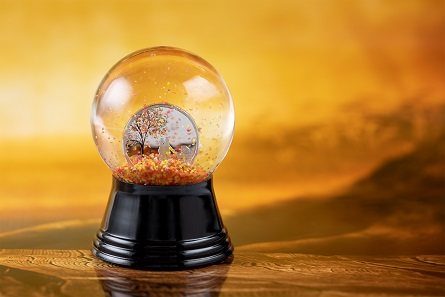 The Indian Globe coin is embedded in a Viennese snow globe.