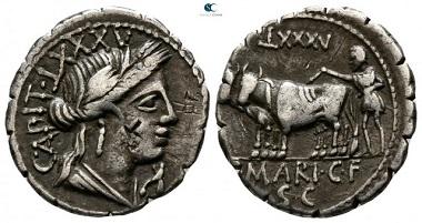 C. Marius C.f. Capito 81 BC. Rome. Serratus AR. 19mm., 3,85g. very fine.