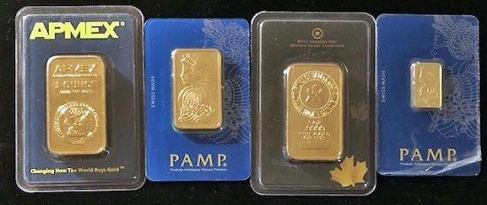 Among the counterfeits to be on display in the special exhibit are fake gold bars in fake APMEX, PAMP, and Royal Canadian Mint holders.