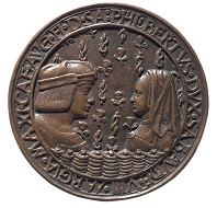 Portrait medals of Philibert of Savoy and Margaret of Austria after Jean Marende, 1502. Photo: KHM-Museumsverband