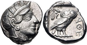 Lot 181. Attica, Athens. Ca 454-404 BC. AR Tetradrachm. Good VF. Estimate: 500 USD.