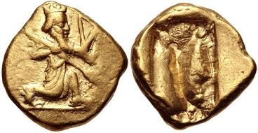 Lot 297. Persia, Achaemenid Empire. temp. Darios I to Xerxes II. Ca 485-420 BC. AV Daric. VF. Estimate: 1250 USD.