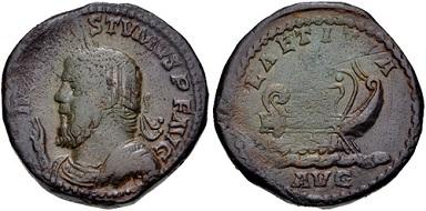 Lot 452. Postumus. Romano-Gallic Emperor, AD 260-269. AE Sestertius. Near VF. Estimate: 200 USD.
