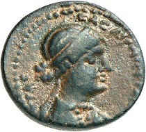 No. 160. Cleopatra and Mark Antony. Bronze. 21 ( = 32/1 BC), Chalcis at the Anti-Lebanon Mountains. Rare. Slightly orange-colored sand patina. Extremely fine. Estimate: 850 euros.