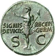 No. 165. Caligula for his brothers Nero, +31, and Drusus, +33. Dupondius, 37-38. RIC 34. Red-green patina. Gem. Estimate: 3,500 euros.