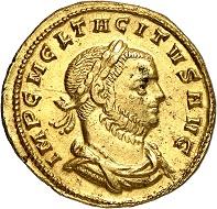 No. 341. Tacitus, 275-276. Aureus, Siscia, 276. RIC 175. Very rare. Nearly extremely fine. Estimate: 5,000 euros.