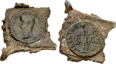 Lot 753: Counterfeiters' Products. temp. Claudius. AD 41-54. Ancient Cast Forgery of an As (55x50mm, 34.26 g, 12h). Cast of a forger's copy of a Rome mint Libertas reverse as of Claudius with sprue and casting flash still attached. Cf. RIC I 113 (for prototype). As made, earthen green patina. Estimate: $1,000.