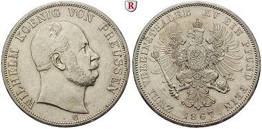 Altdeutschland. Brandenburg-Preußen. Wilhelm I. Vereinsdoppeltaler 1867. vz/vz-st. 950. Euro.