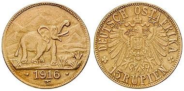 Deutsch-Ostafrika. 15 Rupien 1916, Tabora. f. vz. 5.250 Euro.