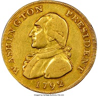 1792 $10 Washington President gold eagle pattern coin. Credit: Heritage Auctions, ha.com