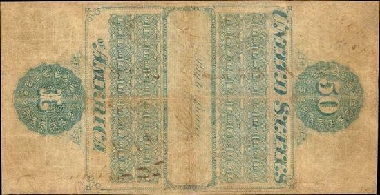 Lot 2021: 1861 $50 Interest Bearing Note. Fr. 202a. PCGS Currency Very Fine 25. Realized: $1,020,000.
