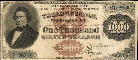 """Lot 2041: 1880 $1000 """"Black Back"""" Silver Certificate of Deposit. Fr. 346d. PCGS Currency Very Fine 25. Realized: $1,020,000."""
