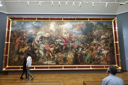 Key piece and highlight of the Gallery of 19th Century: the painting of the Battle of Tannenberg (Grunwald) by Jan Matejko from the year 1878. Photo: UK.