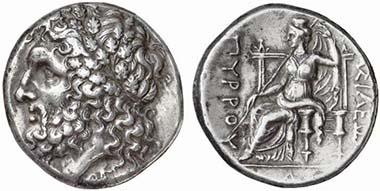 Pyrrhos in Lokroi Epizephyrioi (Bruttium). Kopf des Zeus von Dodona. Rv. Dione n. l. thronend. Aus Auktion Numismatik Lanz 132 (2006), 39.