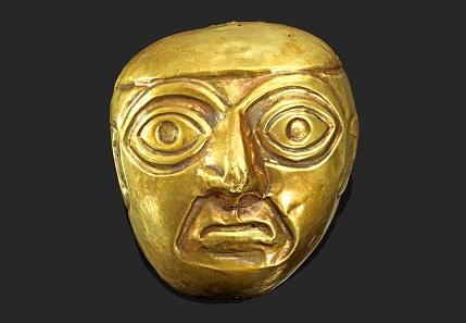 Los 297: Peru. Chimu. Ca. 900-1470 n. Chr. Maske aus Tumbaga. H. 9,5 cm. Taxe: 2.000 Euro.
