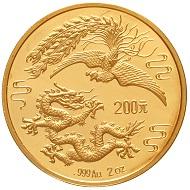 Katalog 117, Los 1063: 200 Yuan. Jahr des Drachen 1990. Drache und Feuervogel. 999er Gold. In Kapsel mit Zertifikat (gefaltet und Gebrauchsspuren, Nr. 355). Polierte Platte. Schätzung: 7.500 Euro.