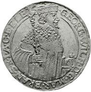Katalog 117, Los 2515: Altdeutschland. Brandenburg/Preußen. Georg Wilhelm, 1619-1640. Reichstaler 1638 LM, Cölln. Vorzuüglich, Prägeschwäche, gereinigt. Schätzung: 3.000 Euro.