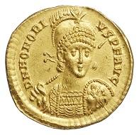 Flavius Honorius (392-423), Solidus, Konstantinopel, 395-408, (Inv. 1934.162), Foto: Museen für Kulturgeschichte Hannover.