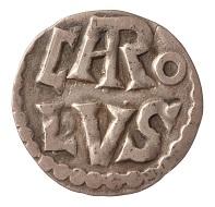Münze Karls des Großen: Denar, Silber, 8. Jh. n. Chr. (Inv. 1913.261), Foto: Museen für Kulturgeschichte Hannover.