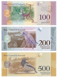 The reverse of the Bolivar Soberano depicts indigenous animals of Venezuela, for example the Brown spider monkey (100 VES). Sourced from the website of the Banco Central de Venezuela - public domain.
