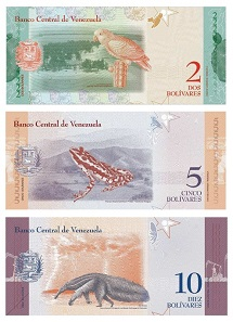The banknotes of smaller face value, too, show indigenous animals of Venezuela. Sourced from the website of the Banco Central de Venezuela - public domain.
