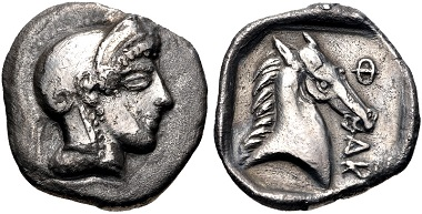 Lot 122: Thessaly. Pharsalos. Hemidrachm, Mid-late 5th century BC. From the BCD Collection. VF. Estimate: $75.