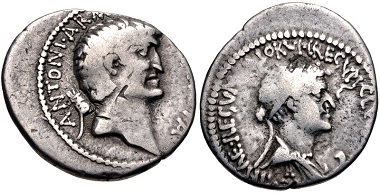 Lot 334: Mark Antony and Cleopatra. Denarius, autumn 34 BC. Fine, toned, a couple of bankers' marks. Estimate: $2,000.
