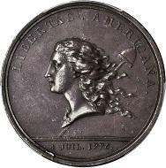 Lot 4: 1781 Libertas Americana Medal. Silver. 47 mm. AU-55 (PCGS). $84,000.