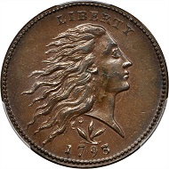 Lot 1017: 1793 Flowing Hair Cent. Wreath Reverse. Vine and Bars Edge. MS-64+ BN (PCGS). $99,000.