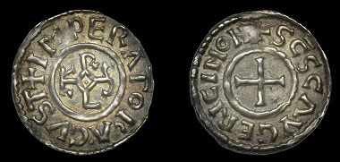 Lot 1514. France. Charles the Fat, 881-7. Denier, St Géry de Cambrai. Coins of France from the Collection of the Late Tony Merson (Part VI). Good very fine and toned, extremely rare. GBP 1,000-1,500.
